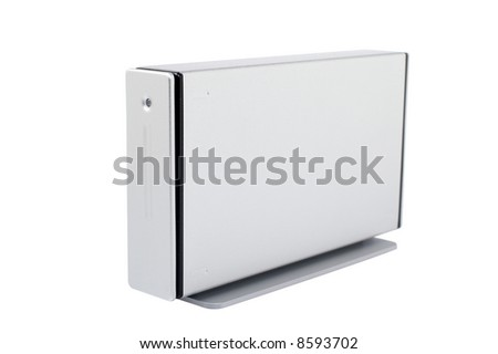 External hard drive isolated on white background. Shallow DOF - stock photo