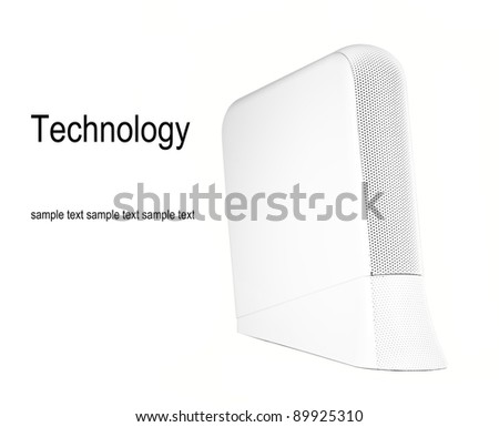 External hard drive, isolated on white with copy space. - stock photo