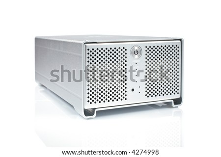 External hard drive reflected on white background - stock photo