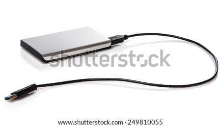 External HDD on white background - stock photo