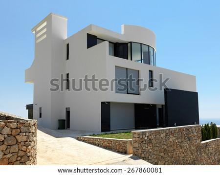 External view of a contemporary house modern villa - stock photo