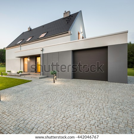 External view stylish house big garage foto de stock for House with big garage