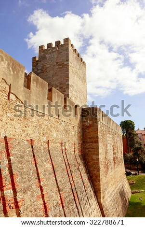 External wall and tower of the Lisbon Castle (Castelo de Sao Jorge). - stock photo