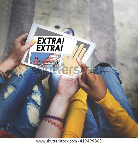 Extra Above High Motivation Urgency Newspaper Concept - stock photo