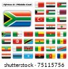 Extra glossy button flags. Big Africa & Middle East set. 36 flags JPEG version. Original size of South Africa flag included. - stock vector