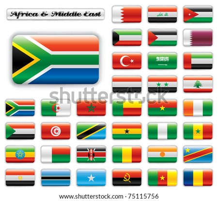 Extra glossy button flags. Big Africa & Middle East set. 36 flags JPEG version. Original size of South Africa flag included.