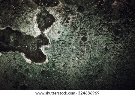Extra Grunge Cracked Concrete Wall Background, Old Grey and Green Vintage Wall - stock photo