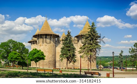 Extra Hi-Res view of medieval fort in Soroca, Republic of Moldova. Fort  built in 1499 by Moldavian Prince Stephen the Great. Has been renovated in 2015 - stock photo
