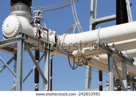 Extra high voltage electric power 500 kV gas insulated bus structures. - stock photo