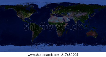 Extra large size physical world map. Elements of this image furnished by NASA. This image has been created from 90 smaller images, merged in to one huge picture. Night view with lights of cities. - stock photo