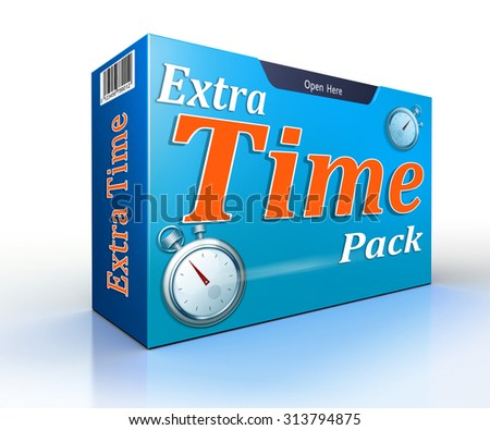 extra time pack conceptual offer pack on white backgound - stock photo