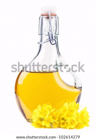 Extra virgin  oil in a bottle with rapeseed flowers isolated on white - stock photo