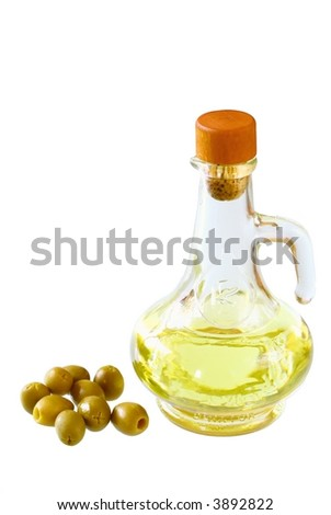 Extra-virgin olive oil and greens olives  on white background
