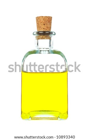 Extra virgin olive oil bottle isolated on white background