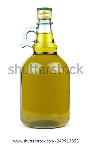 Extra virgin olive oil in a glass bottle isolated on white background. - stock photo