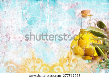 Extra Virgin olive oil, Mediterranean style grunge background with space for writing slogan - stock photo