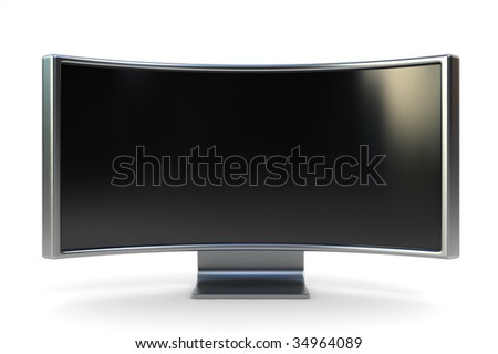 Extra wide monitor for cinema feeling, 3d render