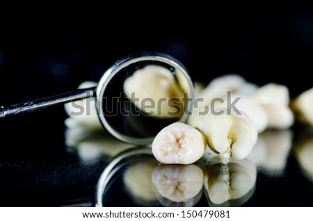 Extracted teeth and mouth mirror - stock photo