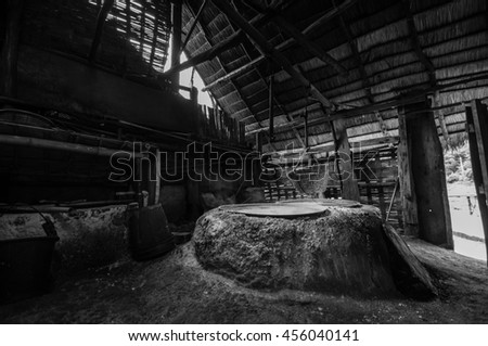 Extracting ancient salt in Thailand - stock photo
