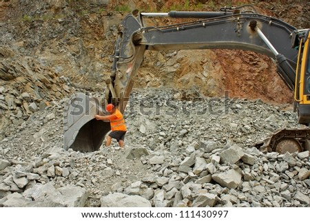 extraction of stone in the quarry in Czech Republic, village Predklasteri