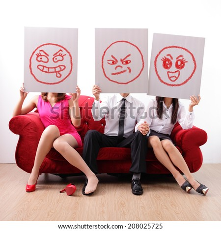 extramarital affair and marital infidelity - young man have a mistress and his wife unknown, concept for extramarital affair - stock photo