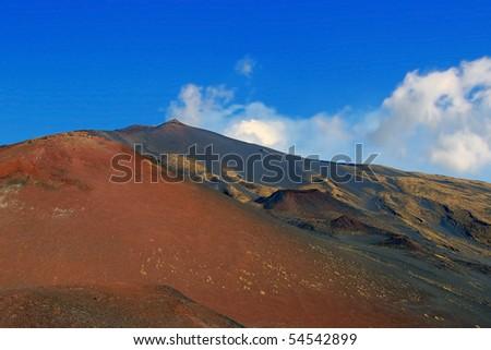extraordinary lunar landscape near Mt. Etna, Sicily, Italy - stock photo