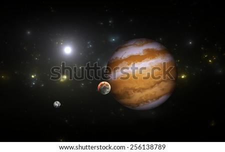 Extrasolar planet with moons. All elements made by me - stock photo
