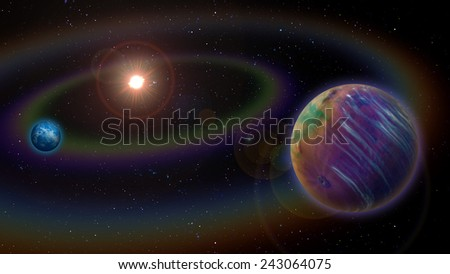 Extraterrestrial Alien Two Planet System - stock photo