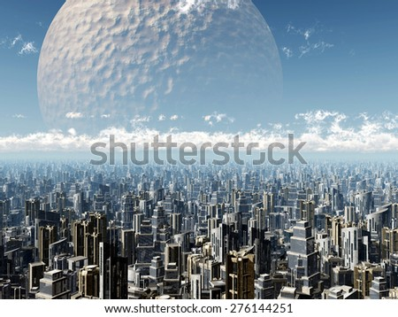 Extraterrestrial Civilization Computer generated 3D illustration - stock photo