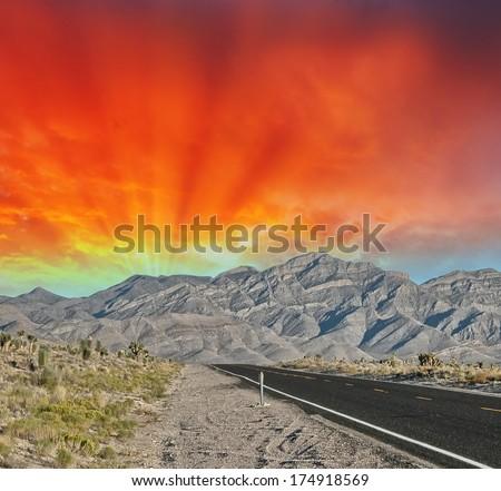 Extraterrestrial highway, Nevada. - stock photo