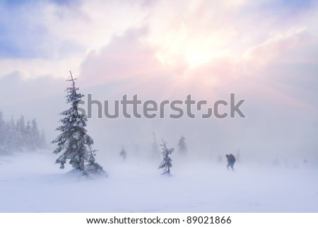 extreme adventure tourists in the mountains at winter - stock photo