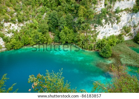 Extreme blue and cyan on Plitvice lakes