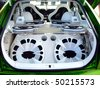 extreme car audio system in a tuned car - stock photo