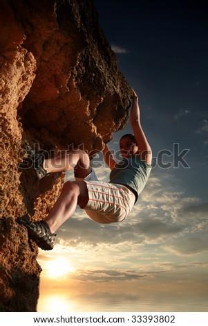 Extreme climbing - stock photo