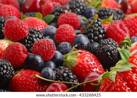 Extreme close-up image of berries