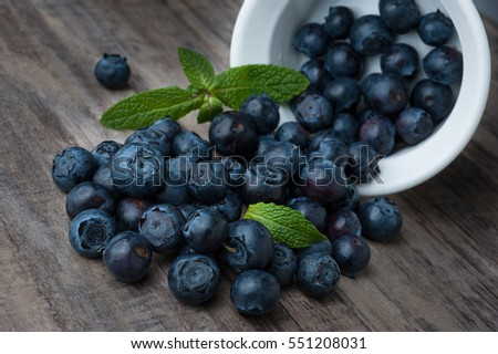 Extreme close-up image of blueberries and white bowl