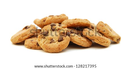 Extreme close-up image of chocolate chips cookies - stock photo