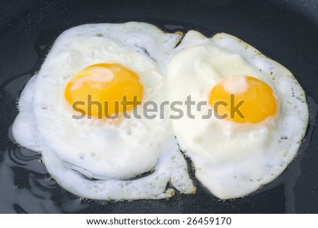 Extreme close-up image of fried eggs  in frying pan