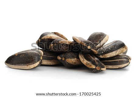 Extreme close-up image of sunflower seeds - stock photo