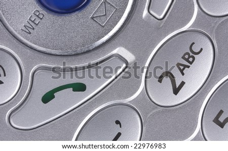 Extreme close-up of a cell/mobile phone's buttons - stock photo