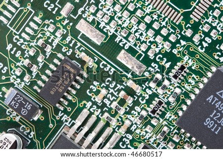 Extreme close up of a computer card - stock photo