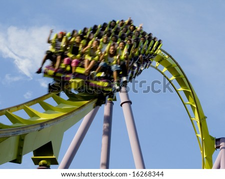 Extreme close-up of a roller coaster - stock photo