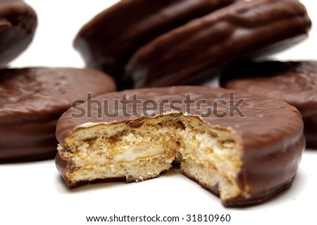 Extreme close-up of chocolate cookie - stock photo