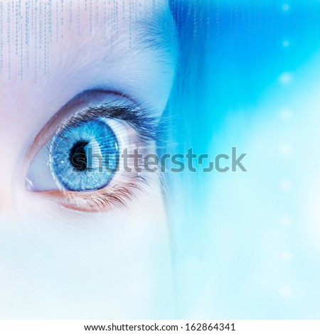 Extreme close up of human eye with futuristic interface. - stock photo