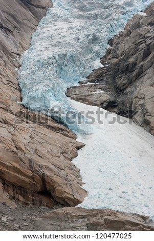 Extreme close-up of Jostedal glacier in  Norway, Scandinavia, Europe - stock photo