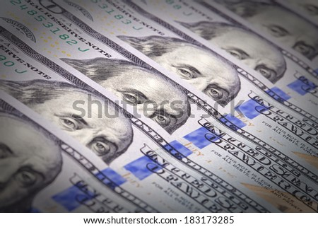 Extreme close-up of one hundred bill Franklin portrait - stock photo
