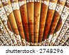 extreme close-up of oriental art on unfolded traditional chinese fan - stock photo