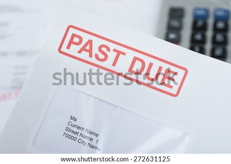 Extreme Close-up Of Past Due Bill Envelope - stock photo