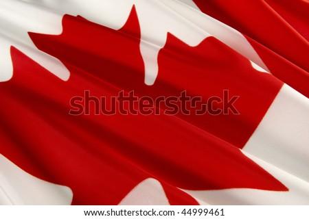 Extreme close up of wavy Canadian flag - stock photo