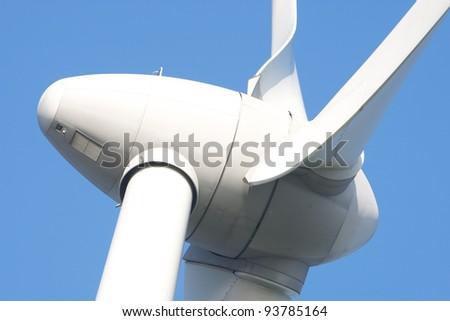 Extreme close up of Windturbine - stock photo